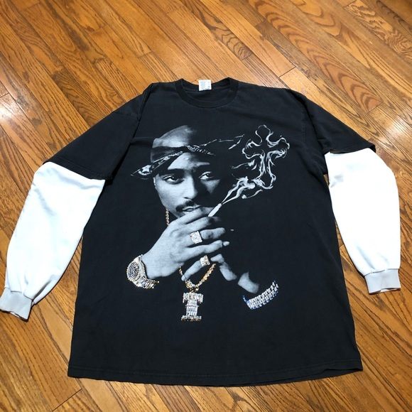 Vintage Rare LS Tupac 4xl Crystal Studded Shirt